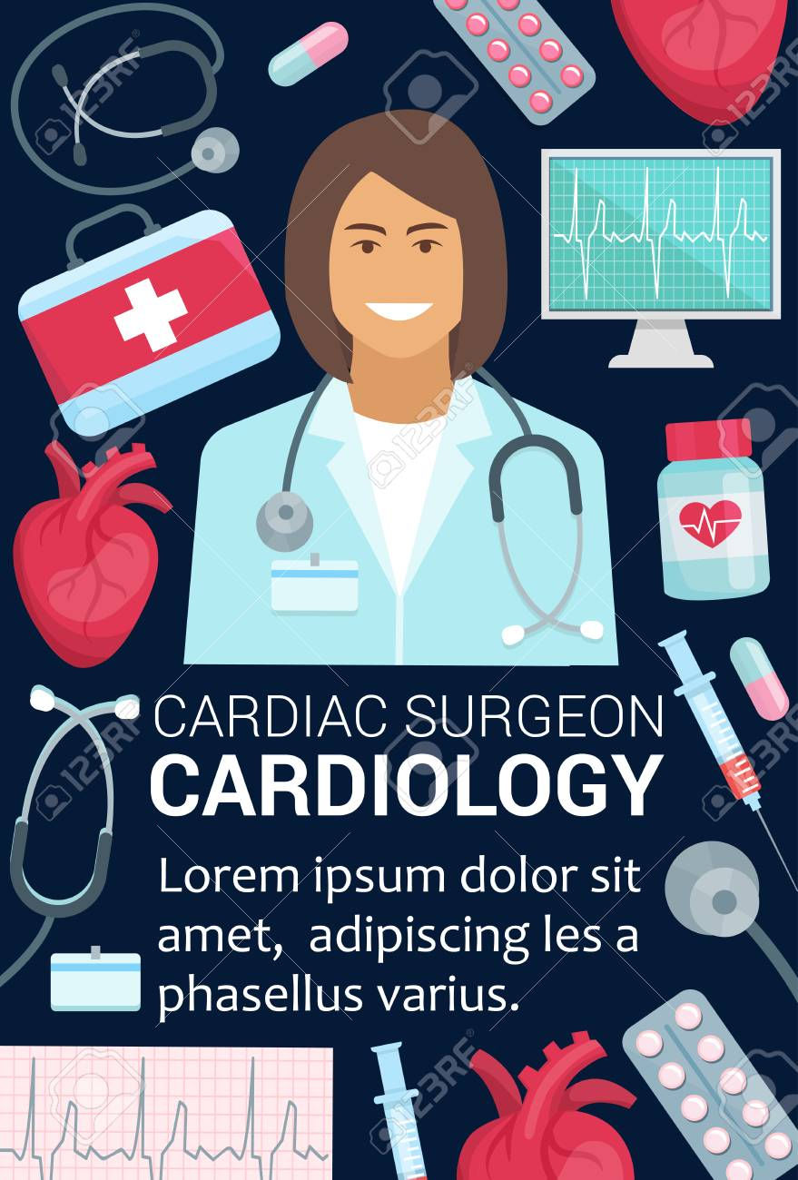 Cardiology Medicine And Cardiac Surgery Banner For Medical Clinic Royalty Free Cliparts Vectors And Stock Illustration Image 112276056