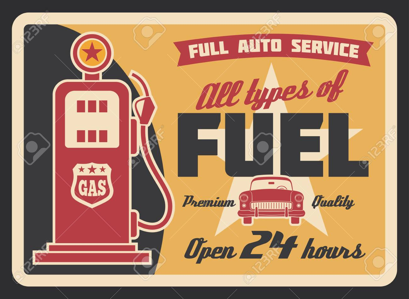 Gas filling station vintage banner for car service template. Retro petrol pump grunge poster with old automobile, ribbon banner and star for fuel station and motor oil shop advertising design - 105944906