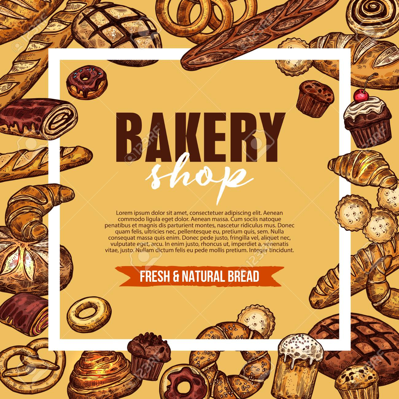 Bakery And Pastry Shop Poster With Fresh Baked Bread Long Loaf Royalty Free Cliparts Vectors And Stock Illustration Image 112276093