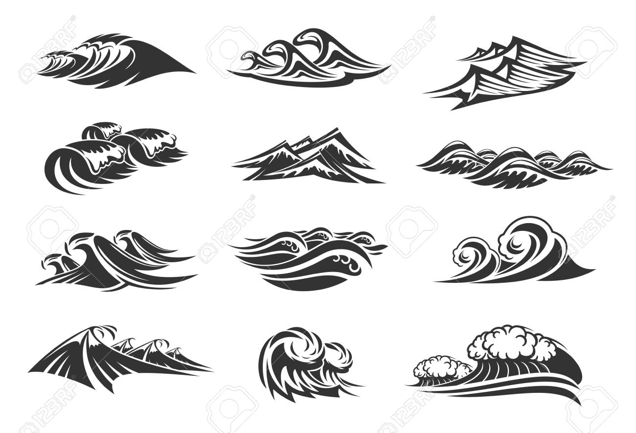 Waves of ocean water line icons set of sea tide splashes. Vector isolated tidal gales, marine waves or stormy tide with splashing flows and surfs of windy storm streams - 112276112