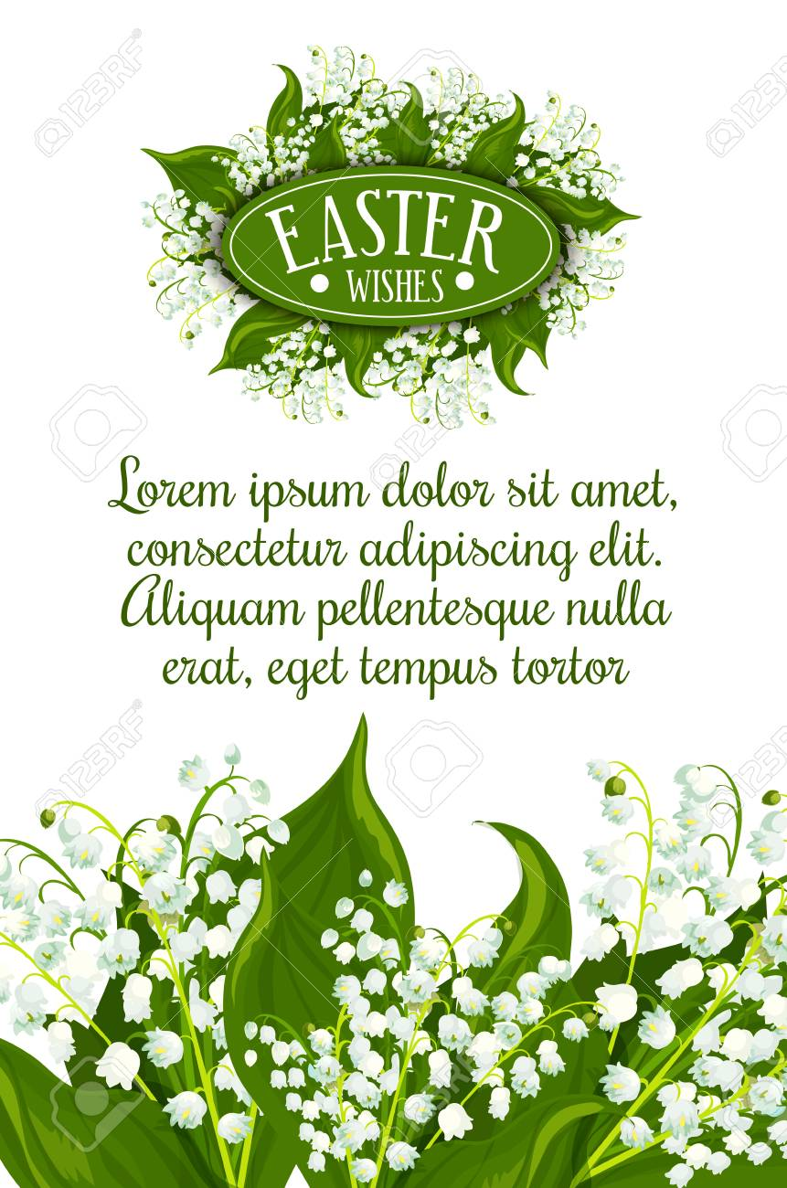 Easter Wishes greeting card. White lily of the valley flowers with green leaves and text layout for your wishes. Easter spring holiday festive banner or poster design - 106164965