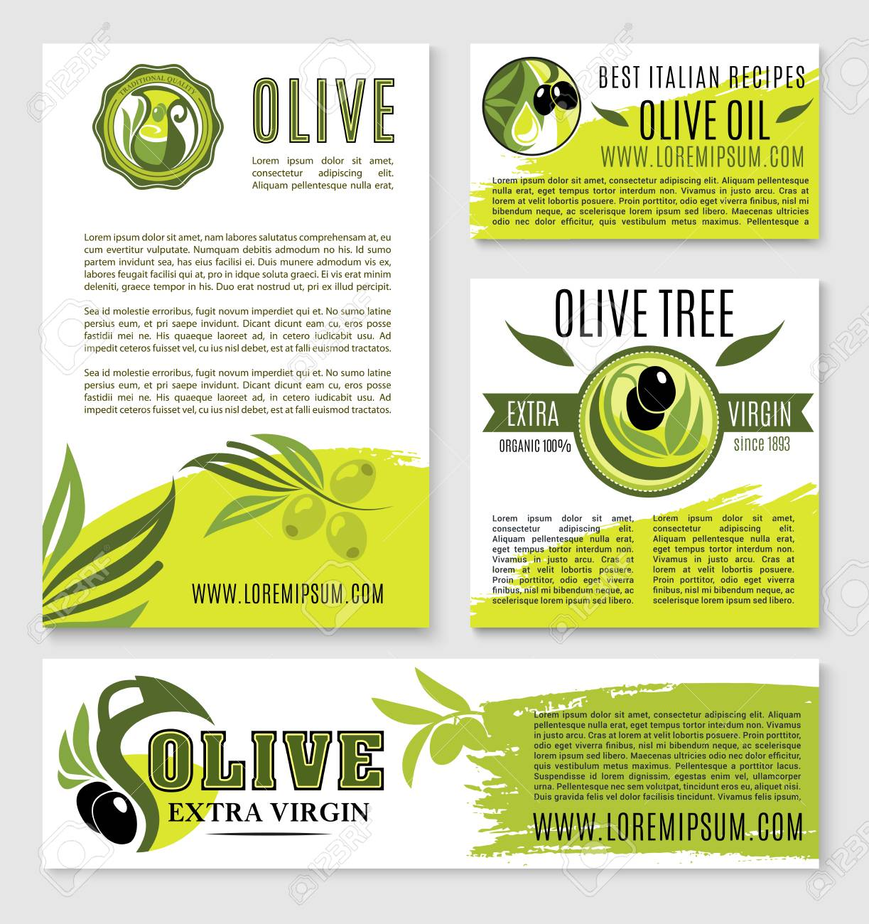 Olive oil nutrition and cooking recipes vector templates or posters..