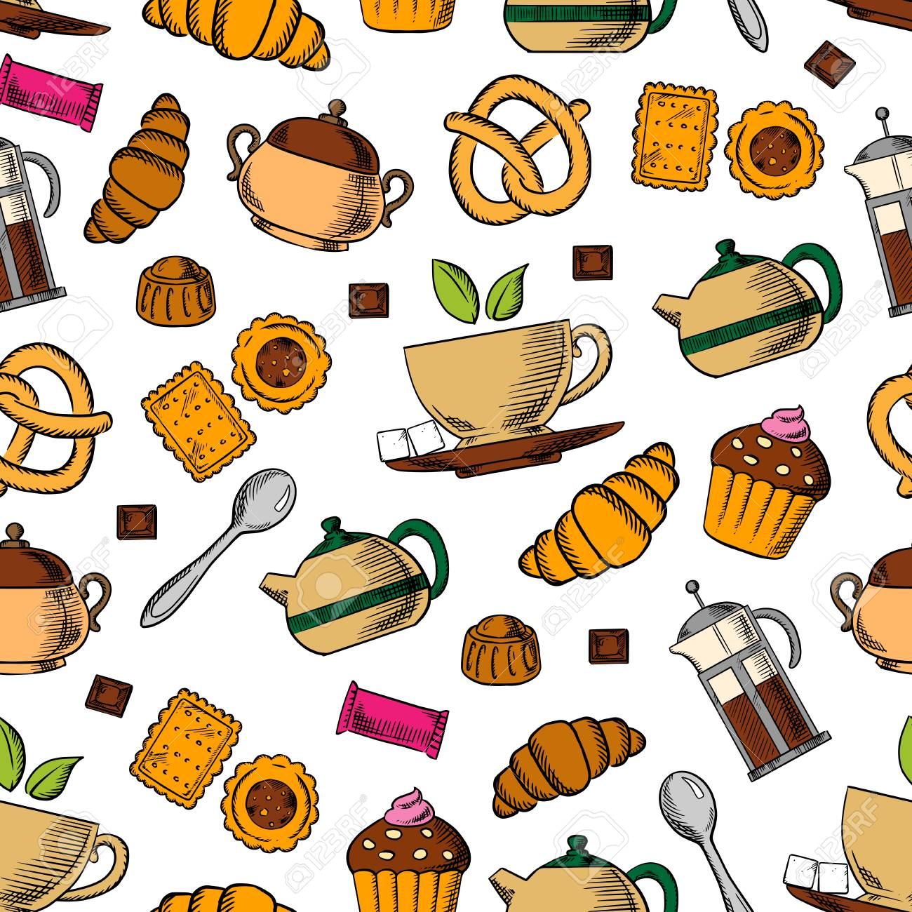 Retro seamless tea and sweets pattern with porcelain cups of fresh tea, chocolate, croissants, cupcakes, cookies, pretzels, candies, teapots and sugar bowls on white background. Tea party, breakfast theme or kitchen interior design - 112253569