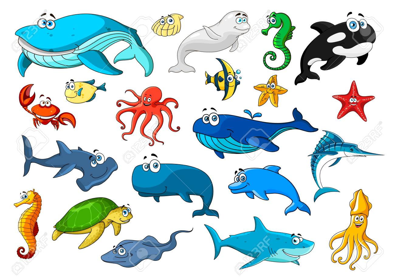 Cartoon sea animals icons. Fish, sea turtle, whale, crab, starfish, octopus and jellyfish, seahorse and dolphin, shark, shell, squid and shrimp, stingray and marlin, killer whale and hammerhead shark - 106181403