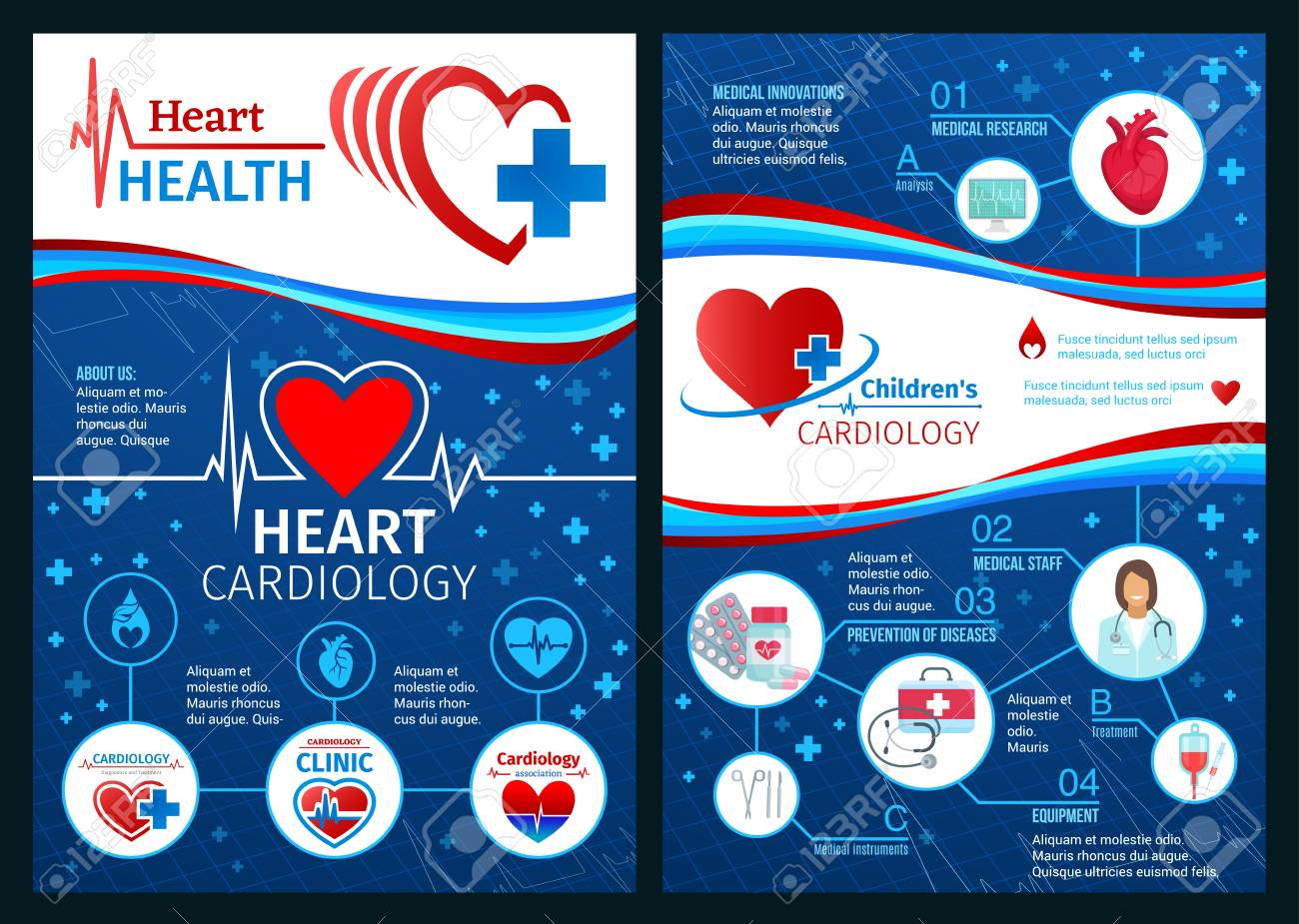 heart health brochure or cardiology clinic medical posters vector