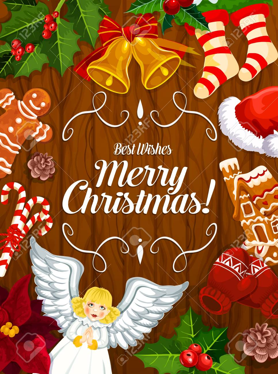 Merry Christmas wishes on wooden banner with winter holiday frame