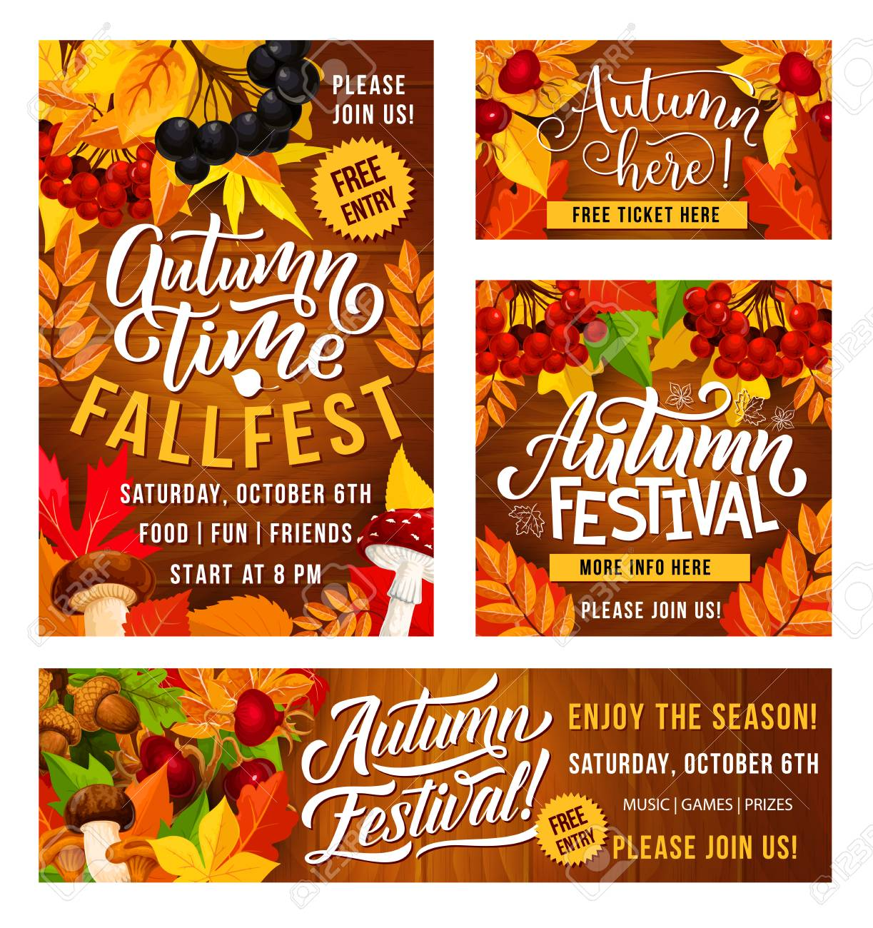 Thanksgiving Day fall fest invitation posters for traditional holiday festival celebration. Vector design of autumn vegetables and fruits harvest with maple leaf and berries - 112004406
