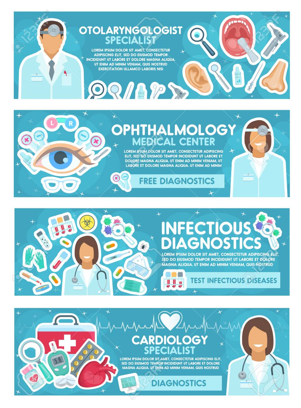 Cardiology, ophthalmology, ENT and infectious disease banner