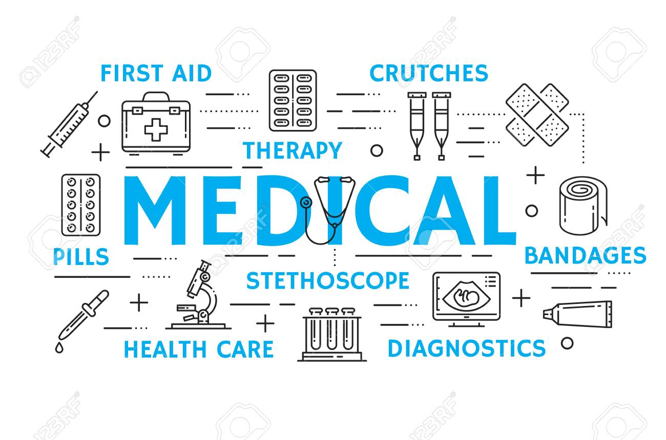 Medicine And Health Care Banner With Medical Treatment