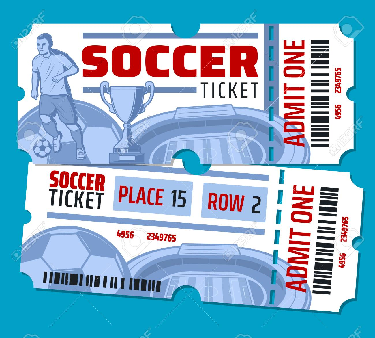 Soccer cup or football sport game tickets. Vector design of soccer ball, football player on arena stadium and goal victory cup with stars and ticket admit cut line - 111855230