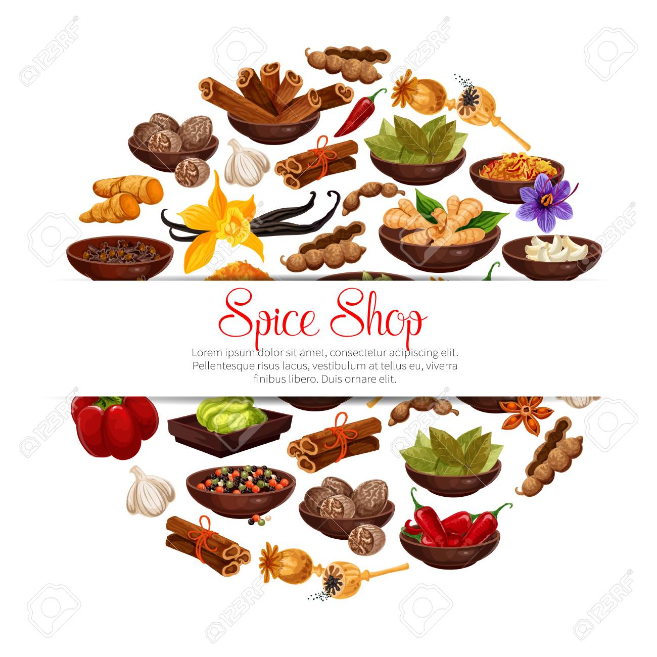 Spices and herbs in bowls poster of herbal seasonings. Vector tamarind, or vanilla and chili pepper, cinnamon and cardamom or cloves seeds and ginger, Indian curry or anise and turmeric with nutmeg - 111855240