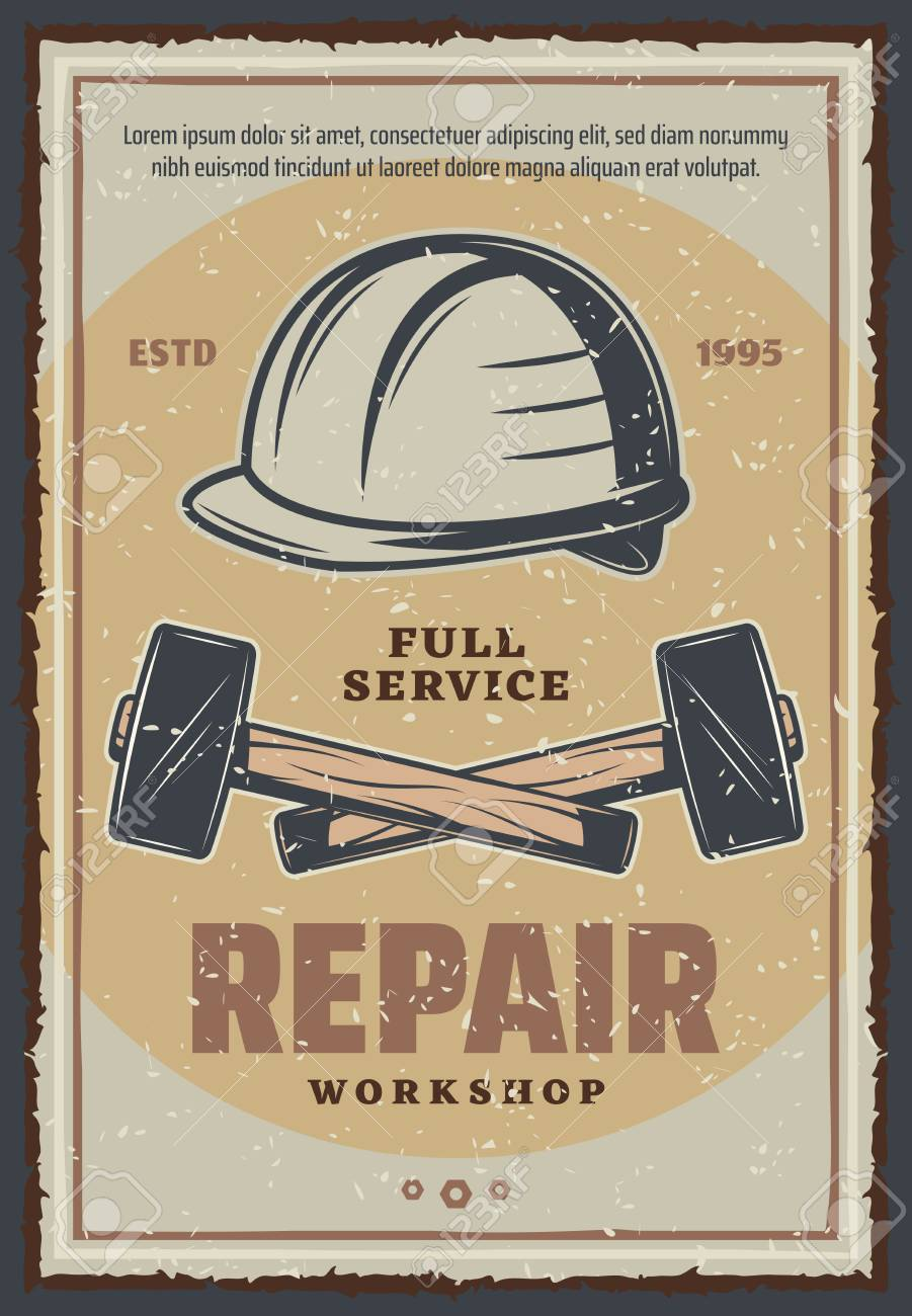 Repair Service Or Workshop Poster Of Construction And Home Renovation