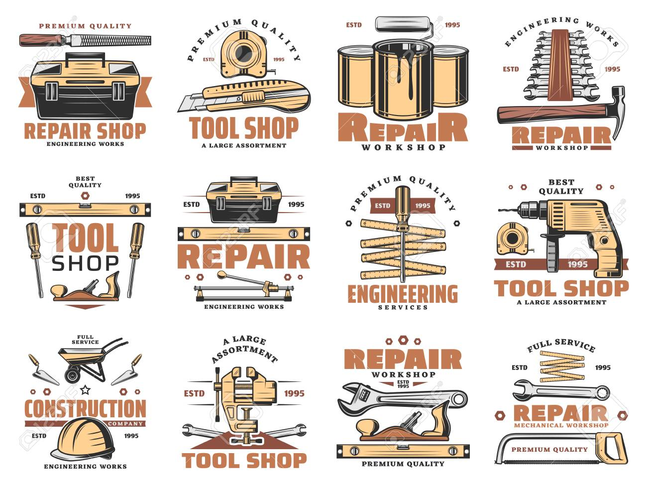 Repair work tools and carpentry or engineering service icons. Vector set worker safety helmet, wrench or spanner and hammer, paint brush and woodwork saw with grinder for tool workshop - 106956143