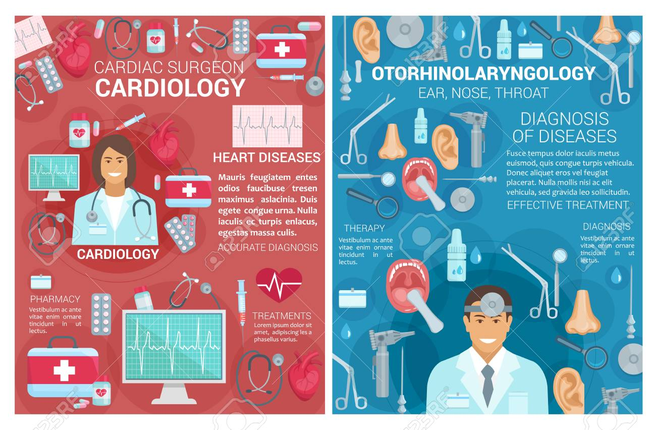 Cardiology And Otorhinolaryngology Medical Clinic Posters Vector Royalty Free Cliparts Vectors And Stock Illustration Image 111770328