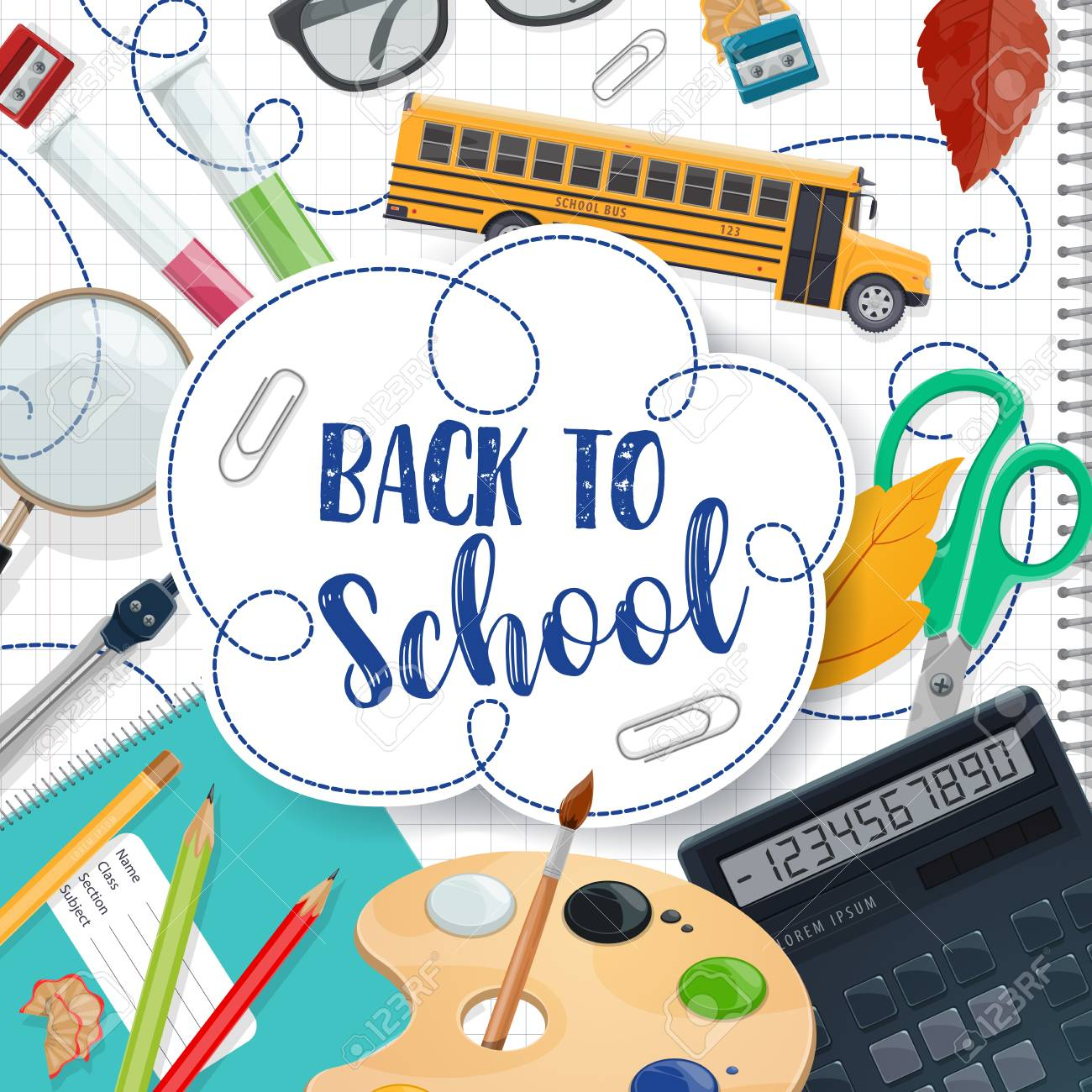 Back to School poster with ink pen lettering for September education season. Vector school bus and lessons study stationery, math ruler or calculator or teacher glasses and paints with brush - 107368878
