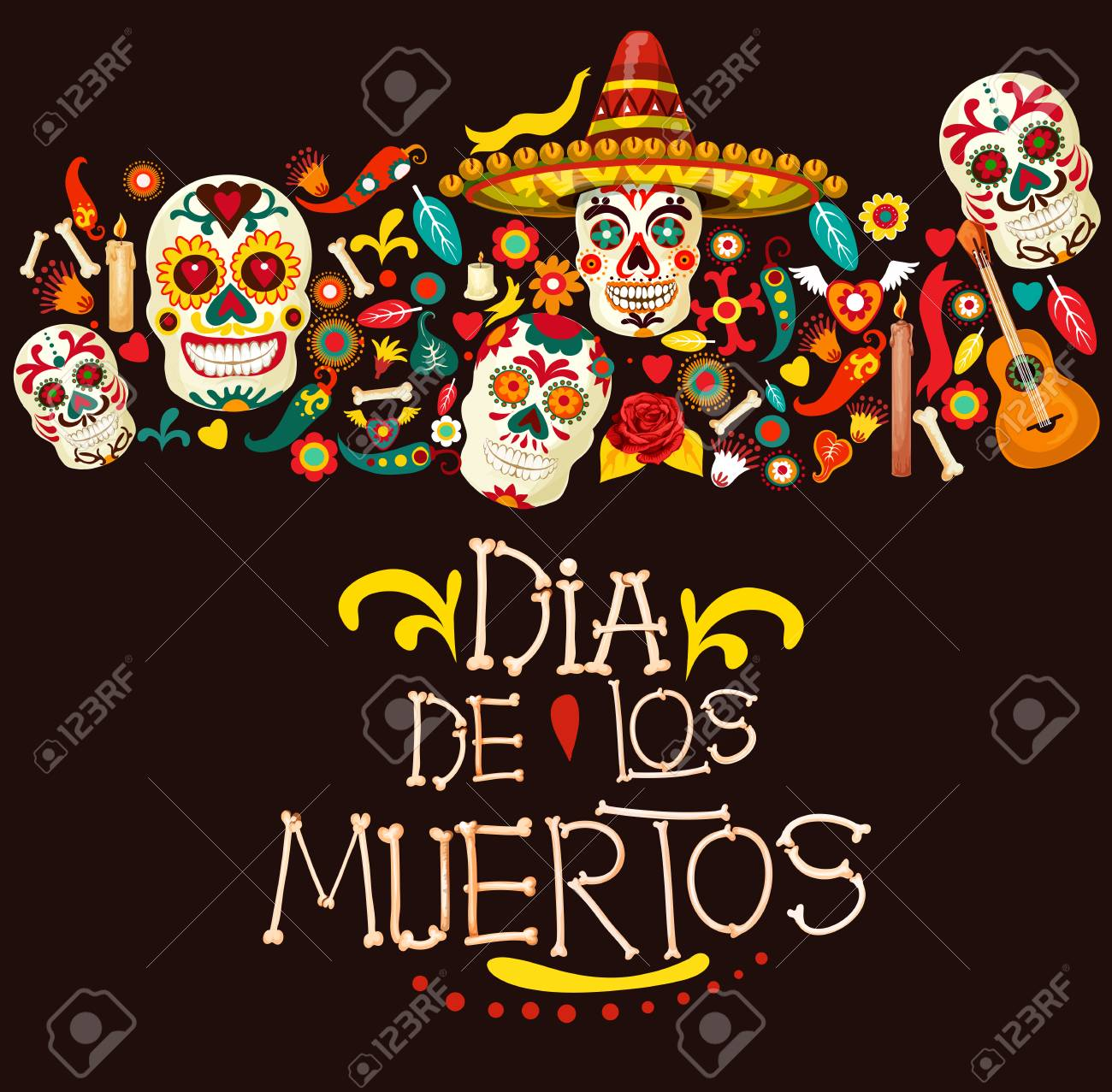 Dia de los Muertos greeting card for Mexican traditional holiday or Day of Dead celebration. Vector cartoon skeleton skulls in sombrero with Mexico ornaments, banjo guitar and candles - 110440423