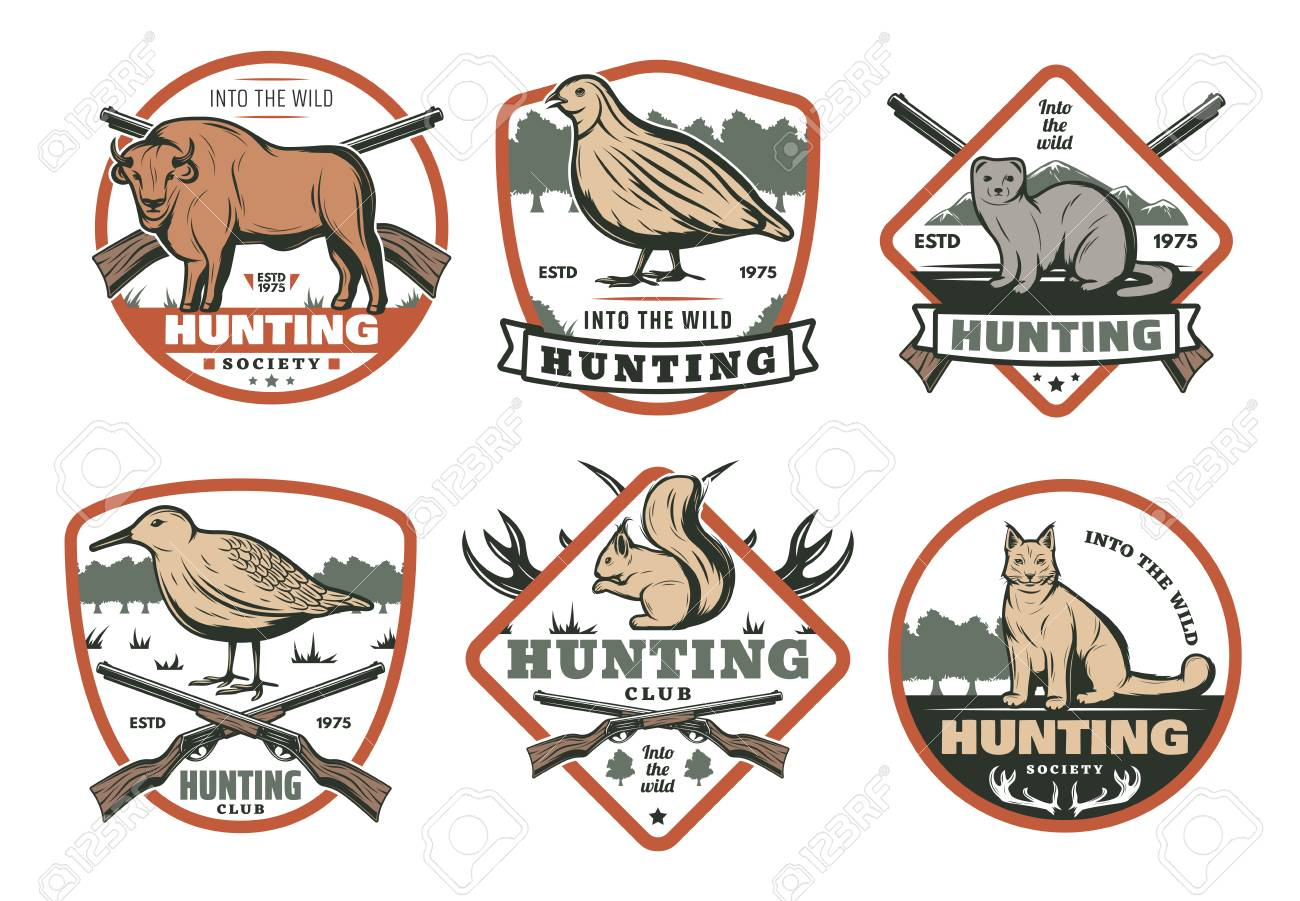 Hunting Animal And Bird With Hunter Rifle Retro Shield Badge For Hunt Sport Club Template