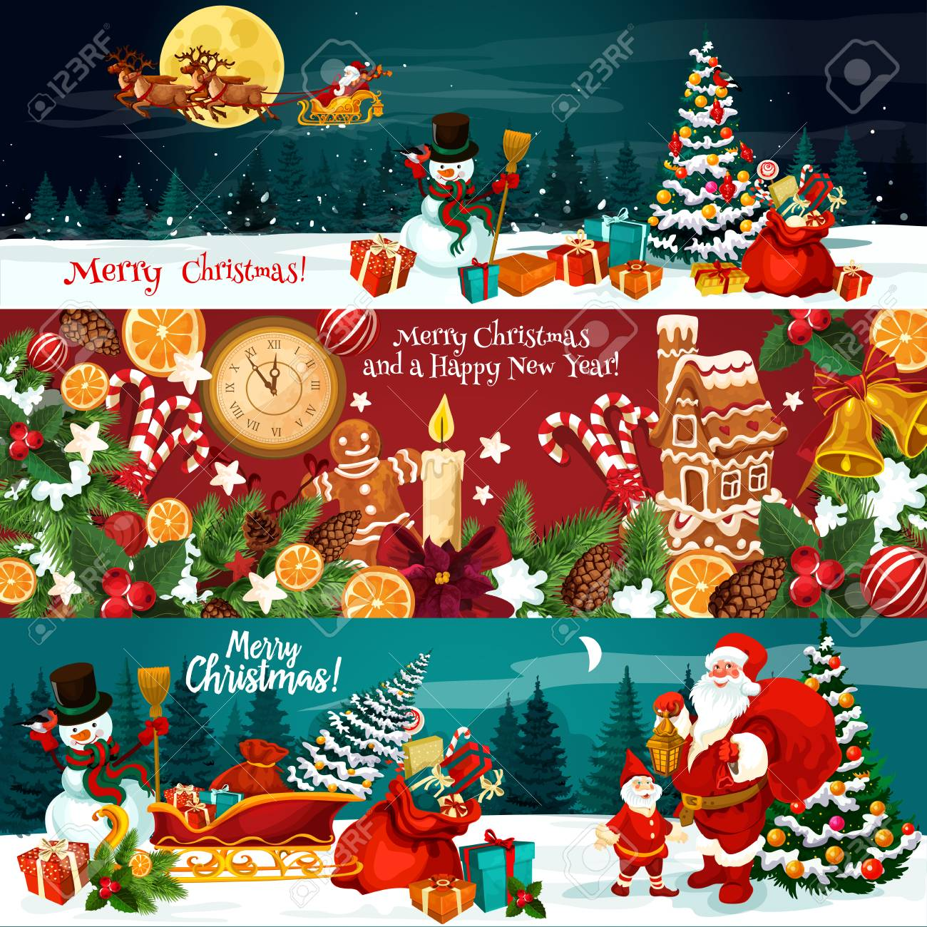 Christmas holiday banner of Xmas gift and New Year festive ornaments. Snowman, Santa and Xmas tree with bell, ribbon bow, holly berry and snowflake, candy, cookie and clock for greeting card design - 110331019