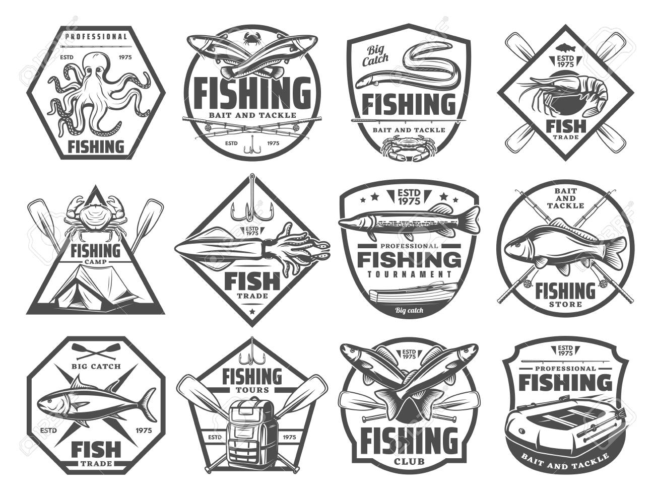 Fishing retro sketch icons for fisherman club or adventure. Vector set of big fish big catch and fisher tackles for seafood octopus, eel or mackerel and marlin or trout and salmon - 107746125