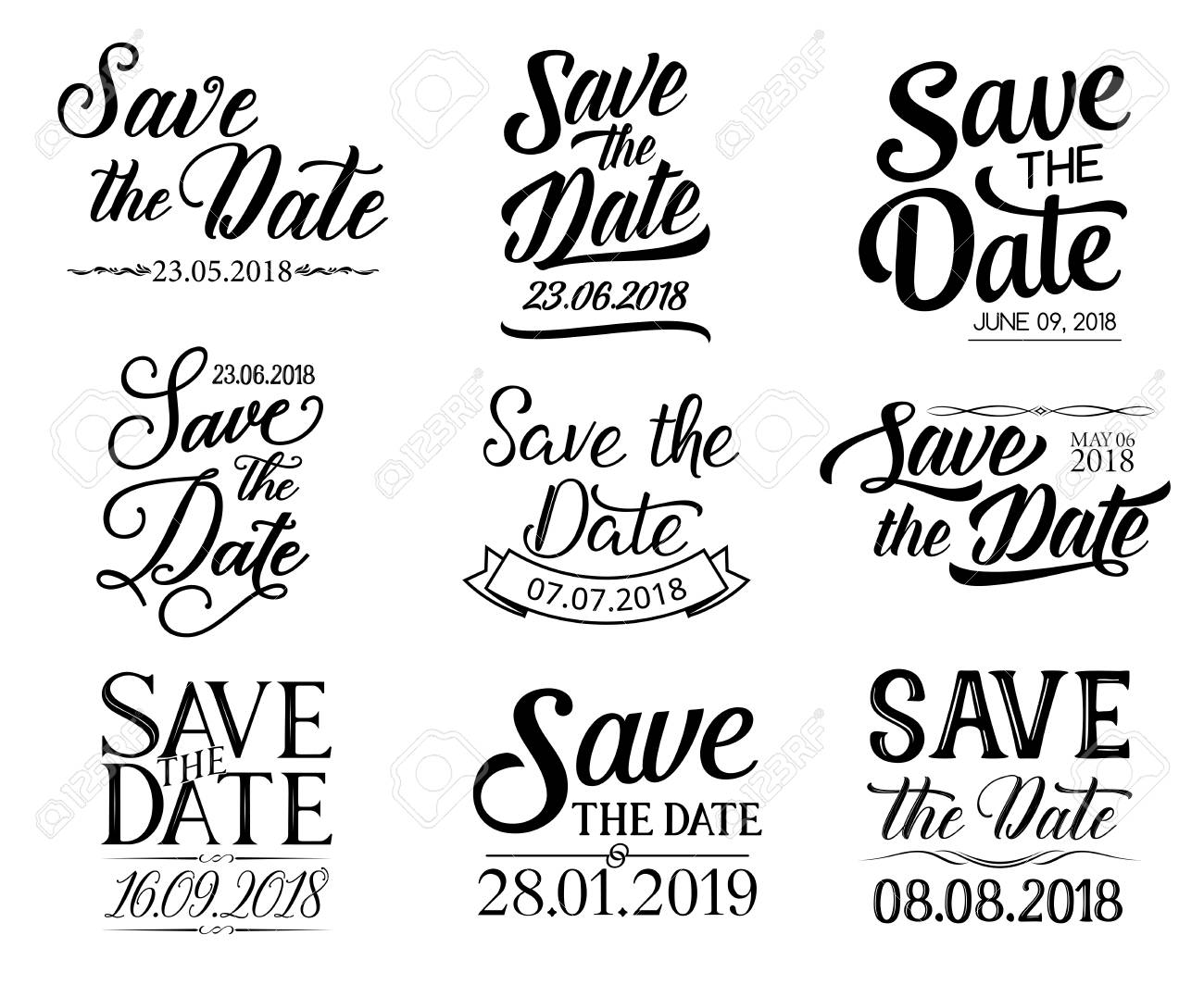 Save the Date or wedding and RSVP lettering for greeting and invitation cards. Vector sketch calligraphy design and ornate ribbons for engagement party - 110288573