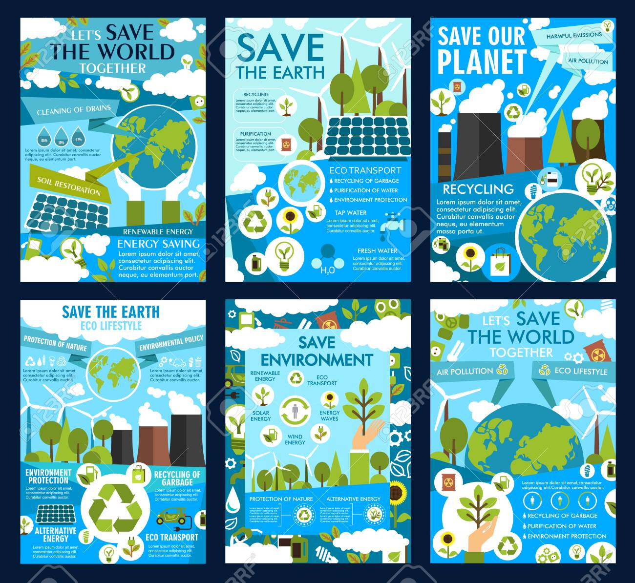 Save Earth posters for ecology protection and environment conservation. Vector green energy solar panels and windmills in eco nature or planet air pollution with power plants and CO emissions - 110288584