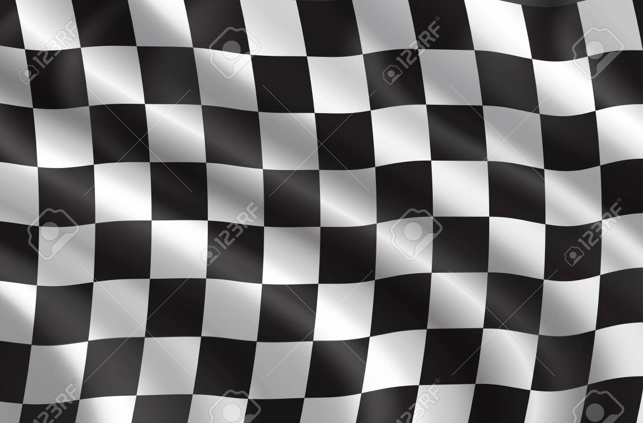 Car races or auto rally flag 3D. Vector checkered background of wavy sport flag with checker pattern for bike or motocross races competition or championship design - 110288585
