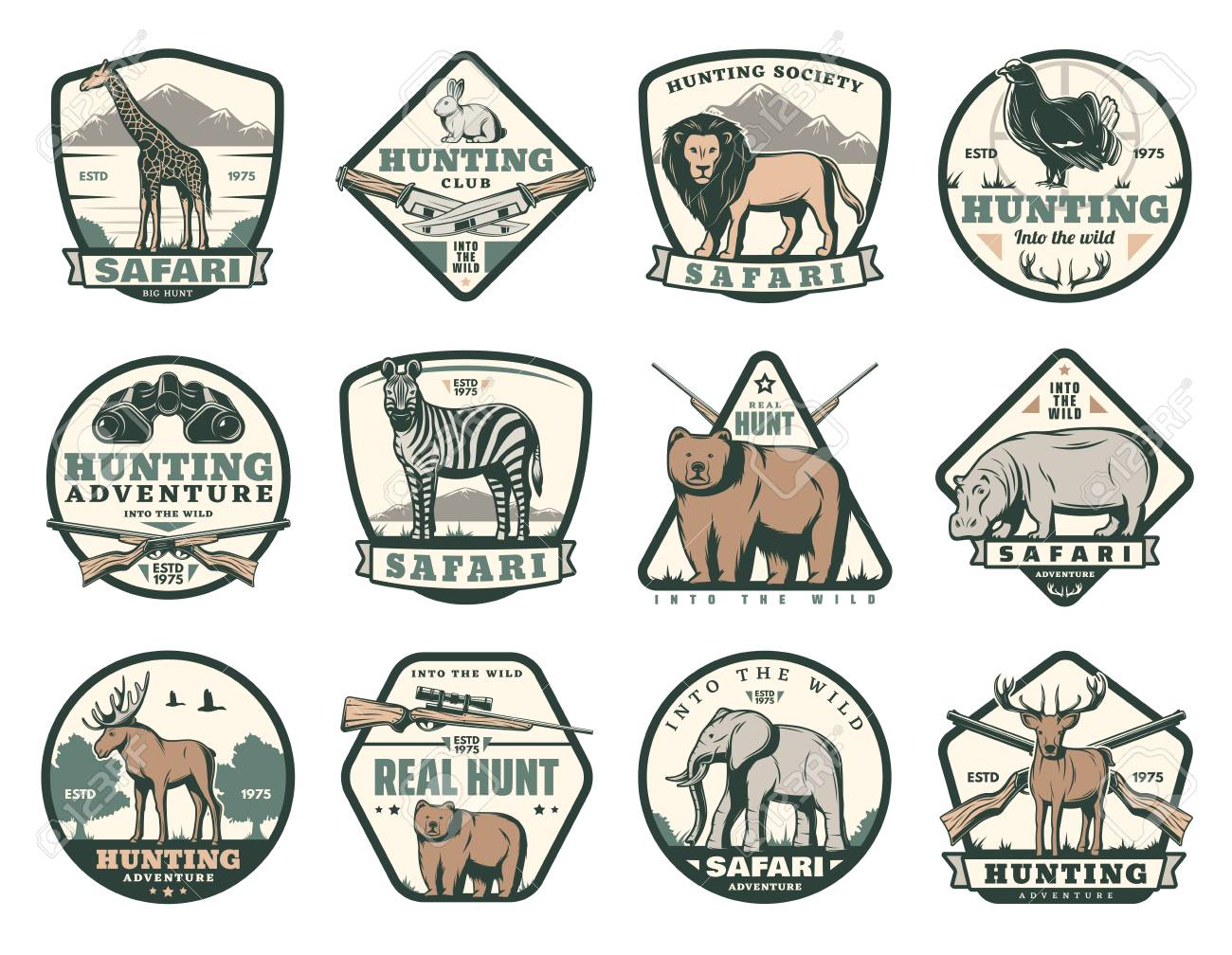 Hunting club icons of wild animals for African safari and open