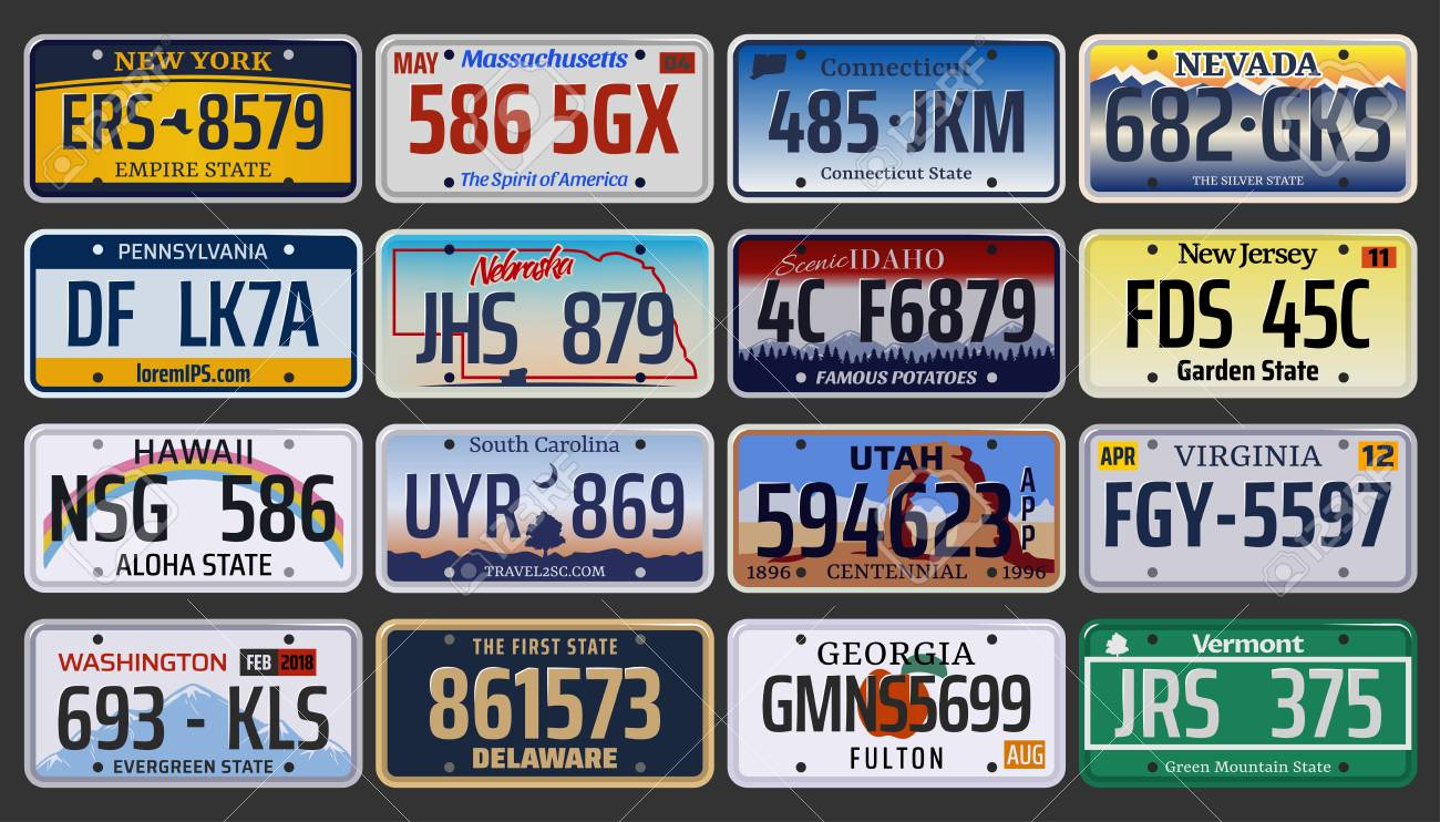 Vehicle registration number plates of American states and city