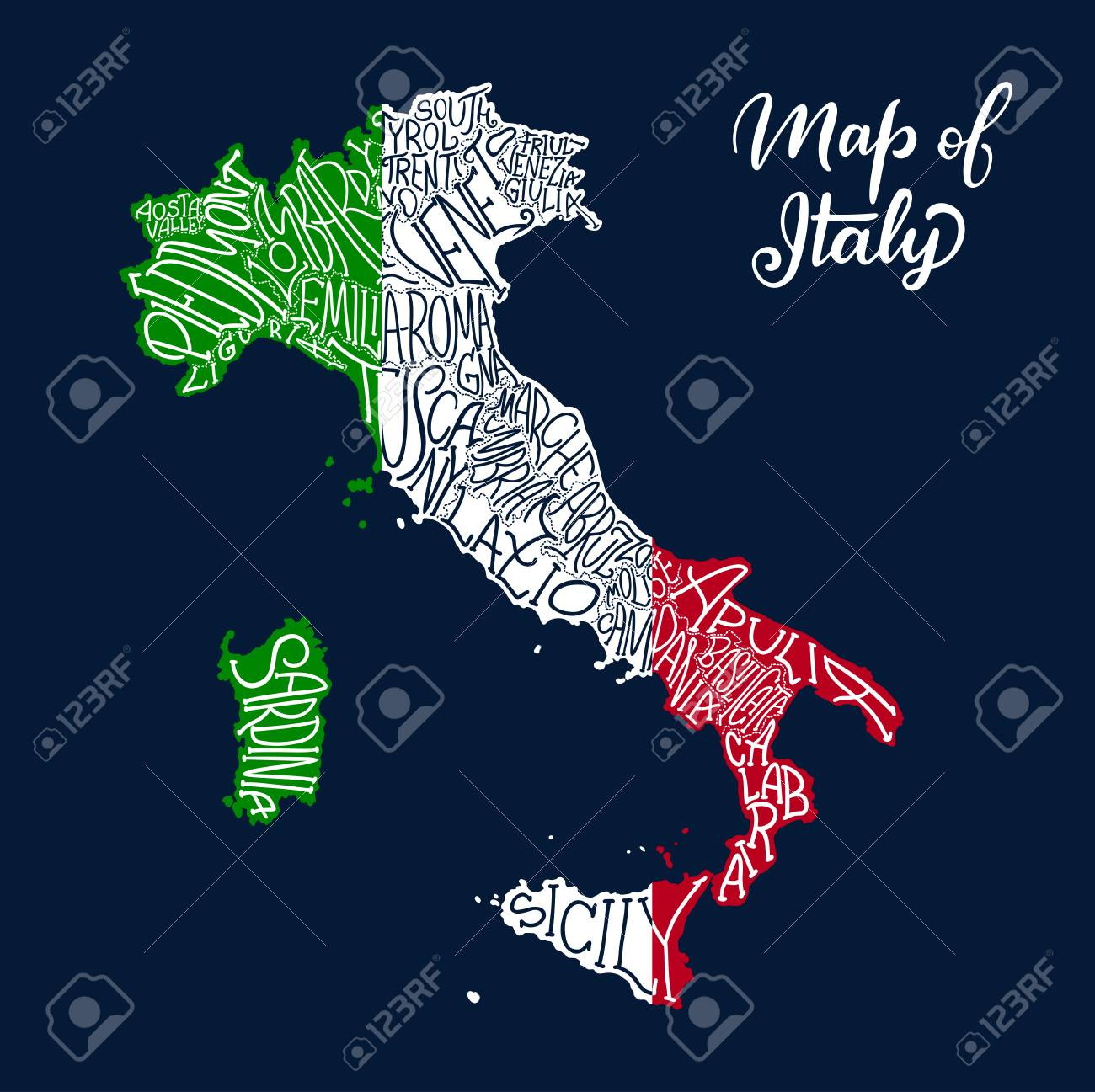 Italy Map Of Regions And Provinces Names In Sketch Lettering