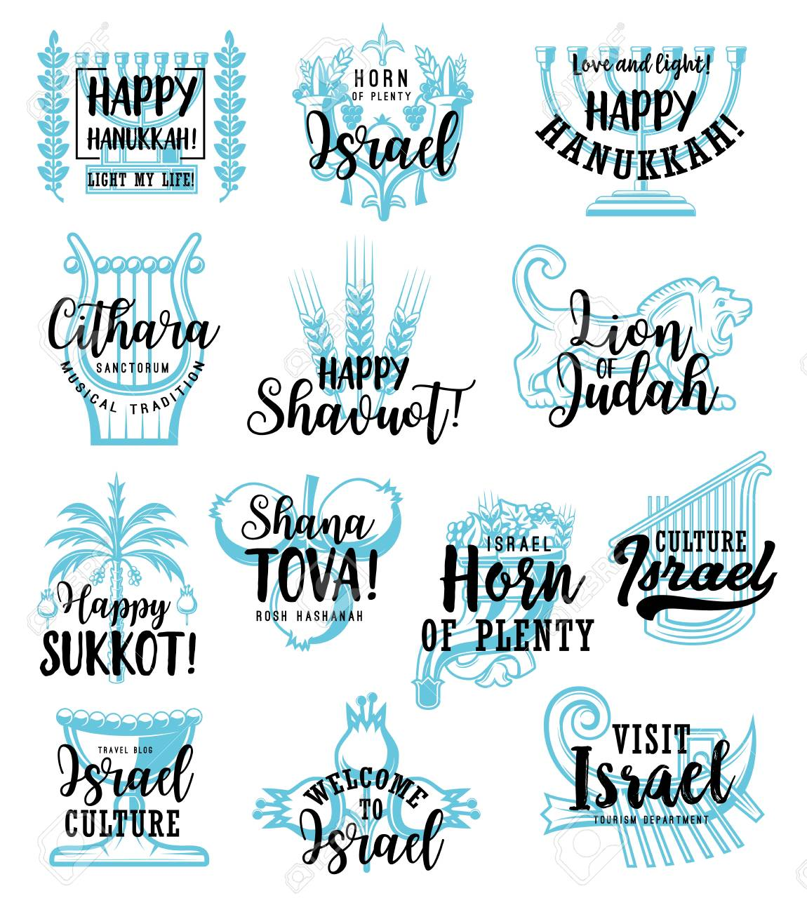 Jewish holidays sketch lettering for religious celebration quotes of traditional symbols. Vector Happy Hanukkah or Sukkot and Shavuot, Welcome to Israel and Shana Tova for travel and tourism - 107951606