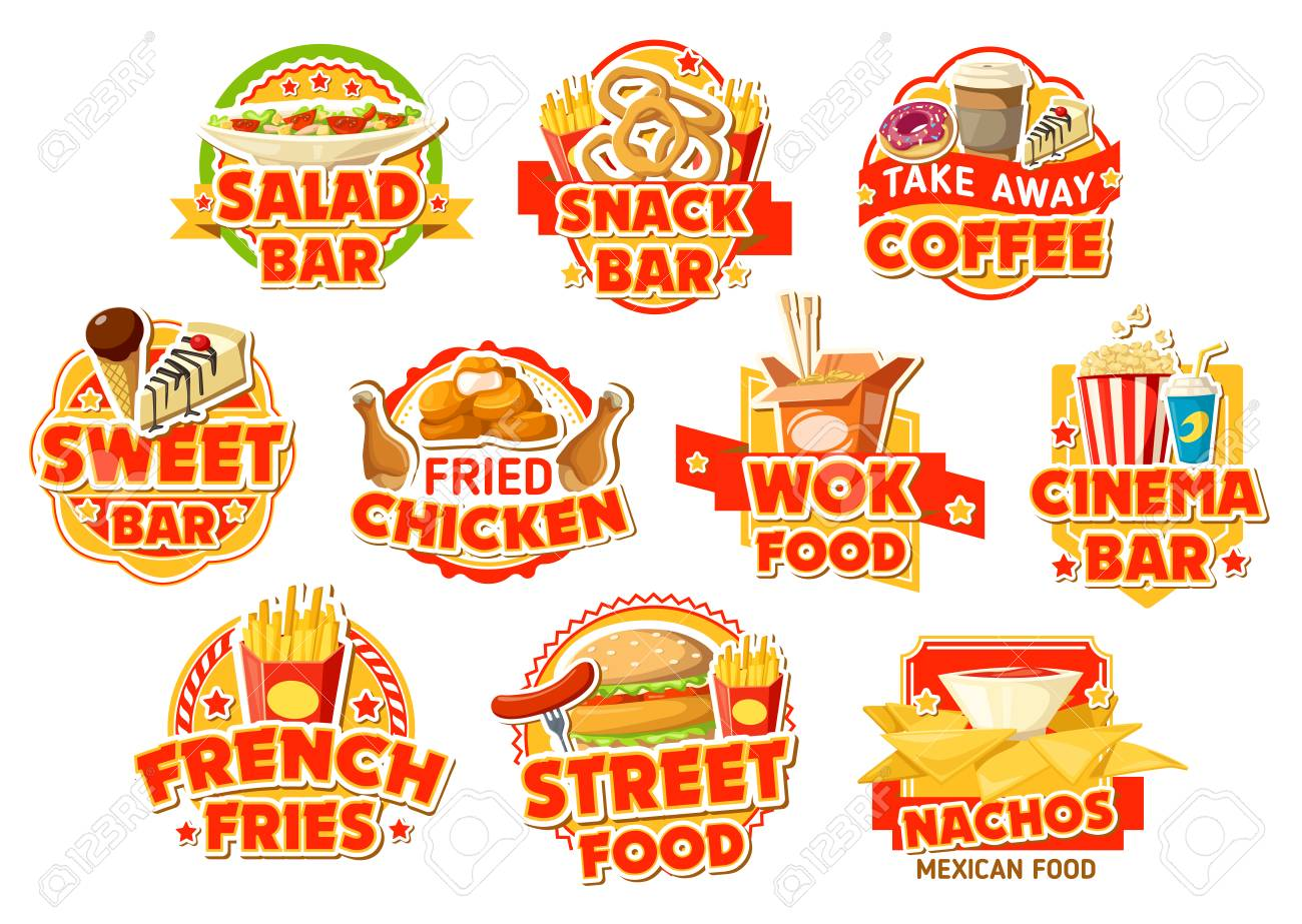 Fast food labels of salad and snack bar, cinema and mexican street food cafe. Burger, chicken and fries, nuggets, donut and coffee, cake, soda and noodle, nachos and ice cream vector icons - 108100127