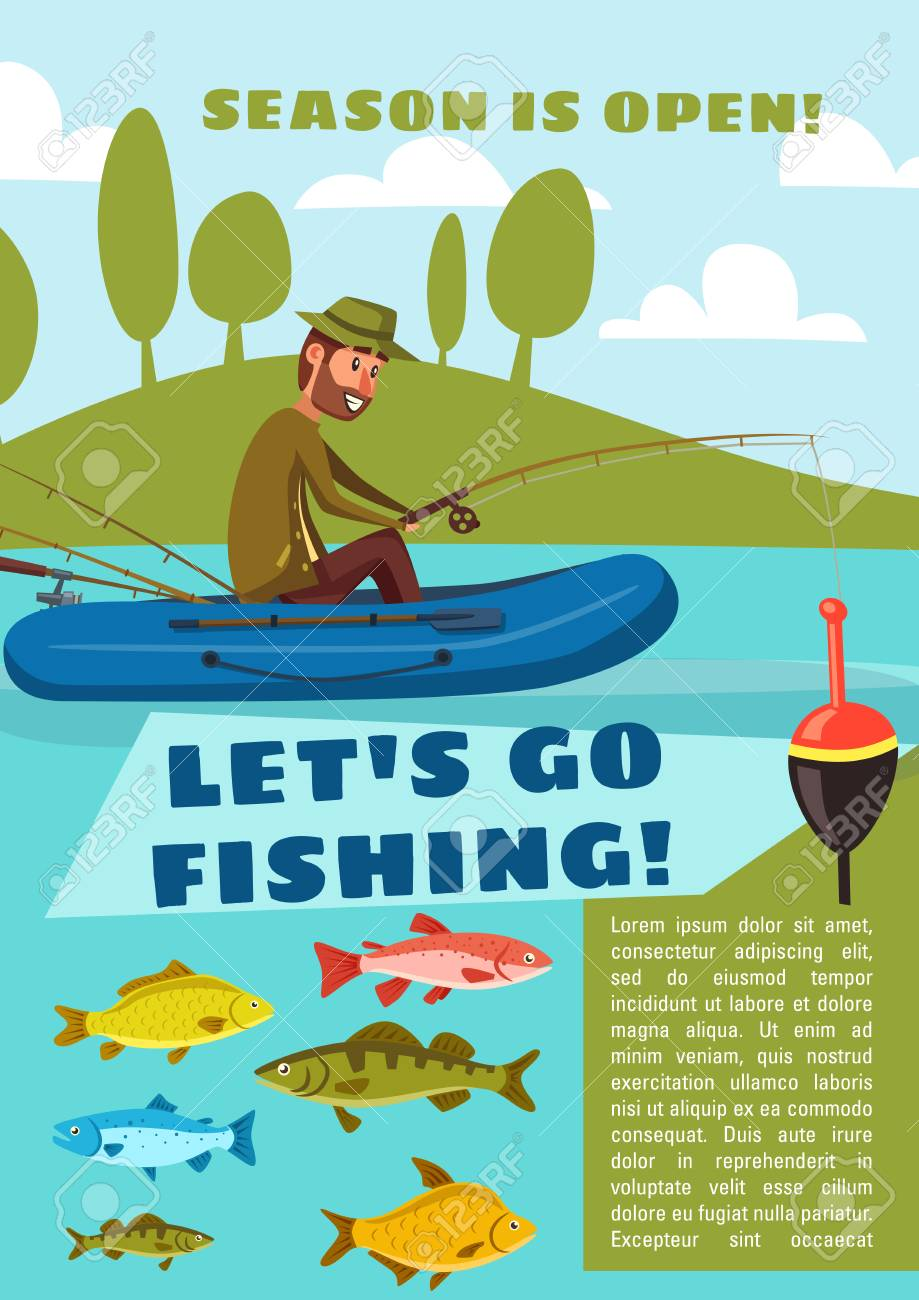 Fisherman fishing from boat with rod and hook, carp fish, cod and bream, perch and pike. Lets go fishing poster for outdoor activity open season design. - 110122362