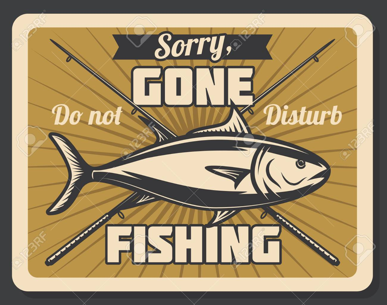 Gone fishing retro banner with fish and spinning rod. Outdoor hobby, recreation activity and fisherman sport club vintage poster - 110027826