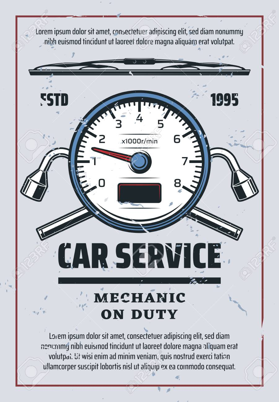 Car service or auto spare parts store  Vector retro design of