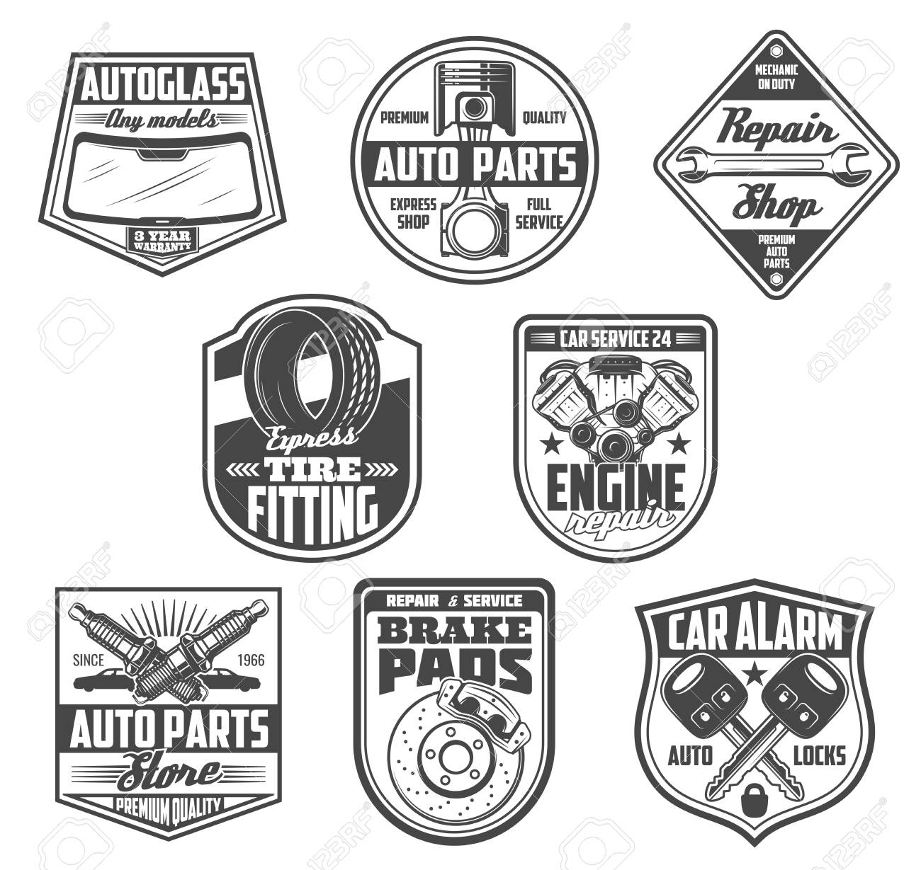 Car service, auto spare parts store icons. Vector windshield autoglass, engine valve or wrench and spanner tool, tire fitting station or plug with brake pads and alarm keys. Mechanic repair theme - 108294879