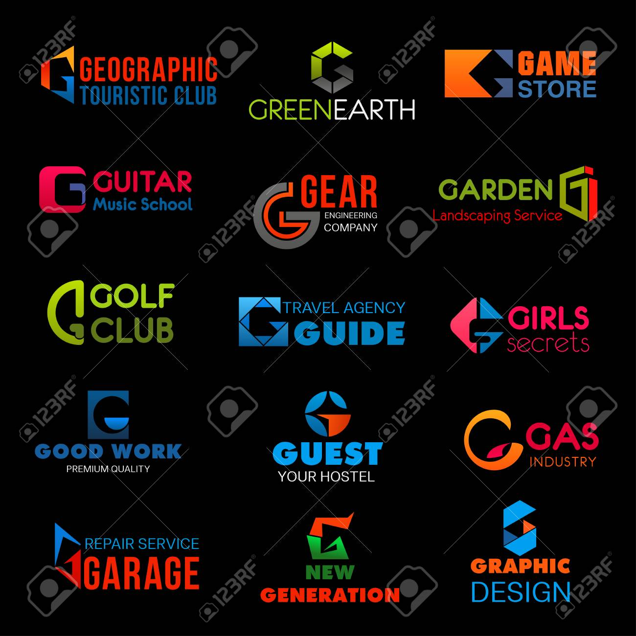 Letter G brand identity or company corporate design in tourism club or green earth ecology and game store. Vector G symbol of engineering, golf club or hostel and hotel and graphic design agency - 108294871