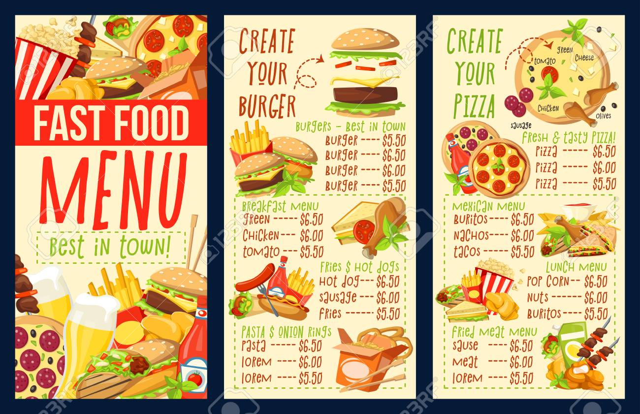 Fast Food Menu Of Fastfood Snacks And Meals Cafe Restaurant Royalty Free Cliparts Vectors And Stock Illustration Image 109985293