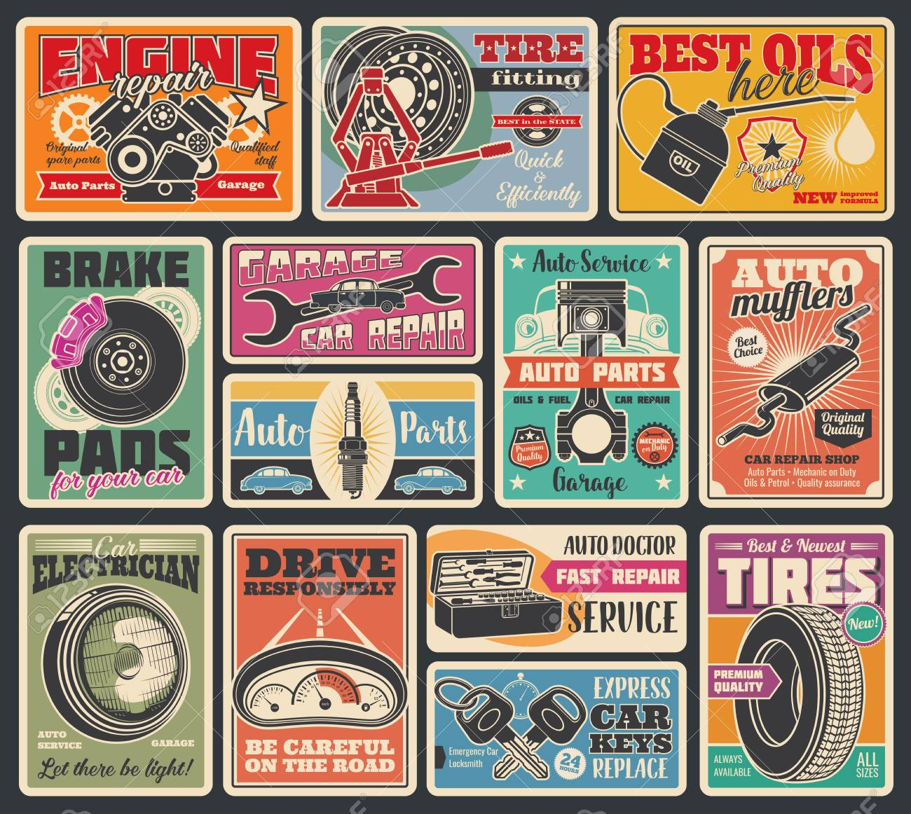 Car service and auto center vintage signboard. Vector retro design of car engine oil service, tire fitting or pumping and mechanic repair or spare parts store, keys, battery or oil - 109985295