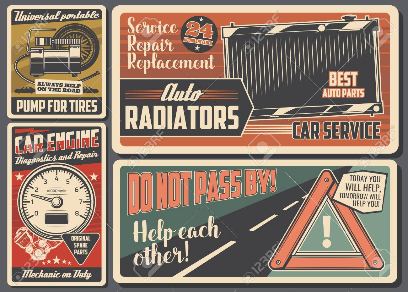 Car Service Signboards Garage And Auto Mechanic Workshop Vector Royalty Free Cliparts Vectors And Stock Illustration Image 109850789