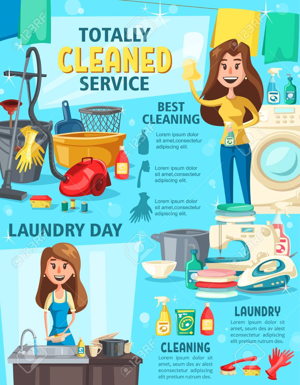 House cleaning and housework service, household equipment and work tool. Brush, mop and detergent spray, sponge, bucket, vacuum cleaner and washing machine for housework chores poster design - 108571309