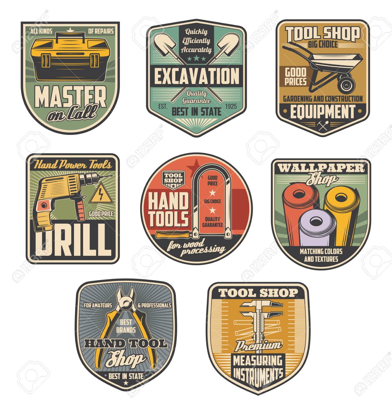Repair tool shop retro badges with construction equipment and instrument. Pliers, drill and toolbox, tape measure, wallpaper and hacksaw, shovel and wheelbarrow symbols for hardware store design - 108571330