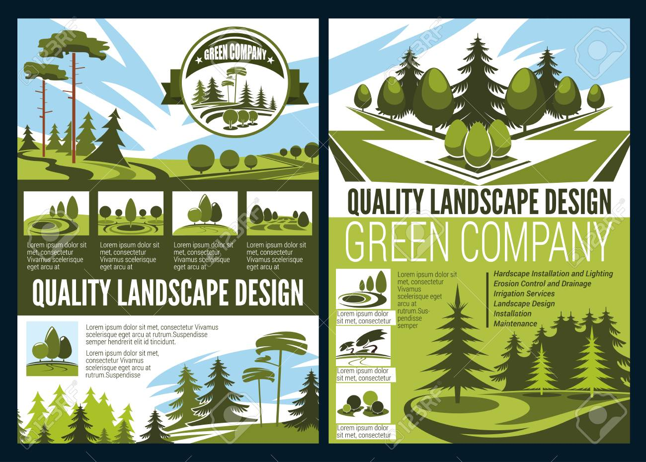 Landscape Design Green Area In Natural Environment Vector Green Royalty Free Cliparts Vectors And Stock Illustration Image 109761879