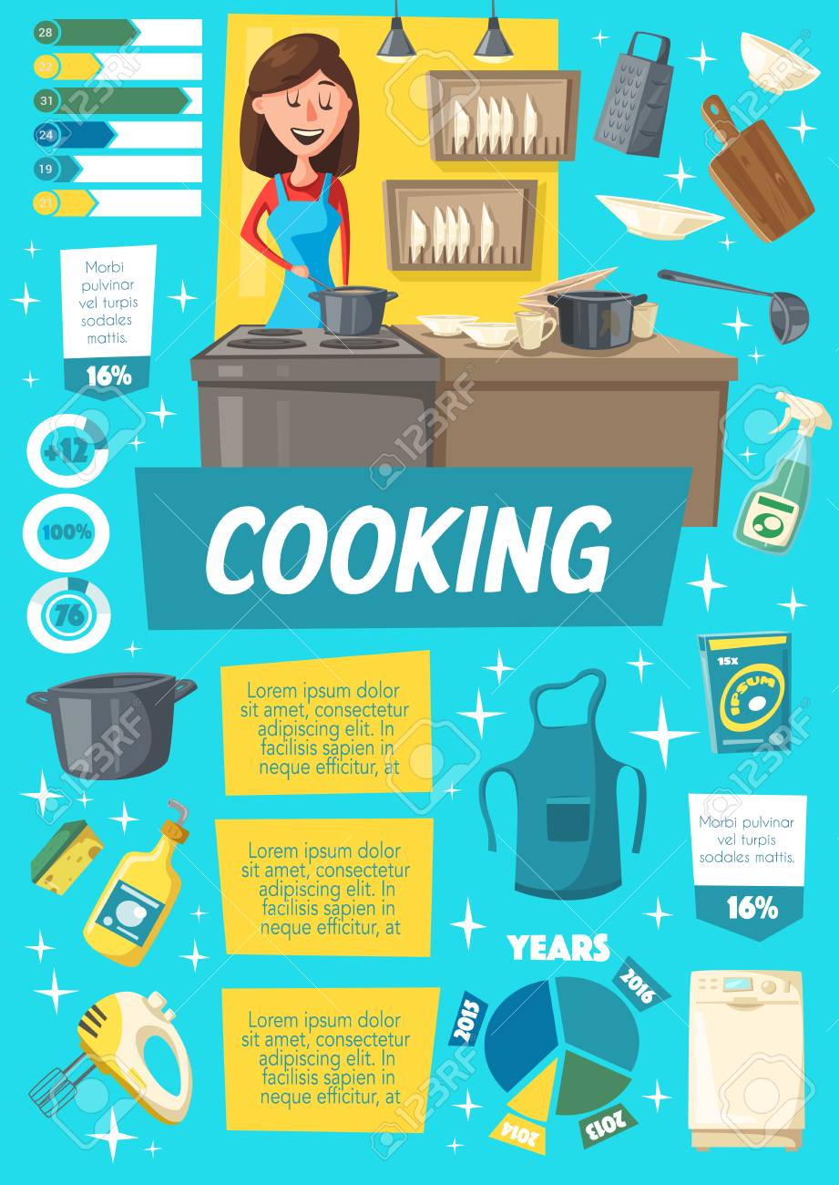 Cooking infographics, dishware and woman in apron near cooker. Household chore poster kitchen supplies. Housewife cooks food on stove in saucepan. Vector tableware or dishware mixer, rolling and grater - 109761882