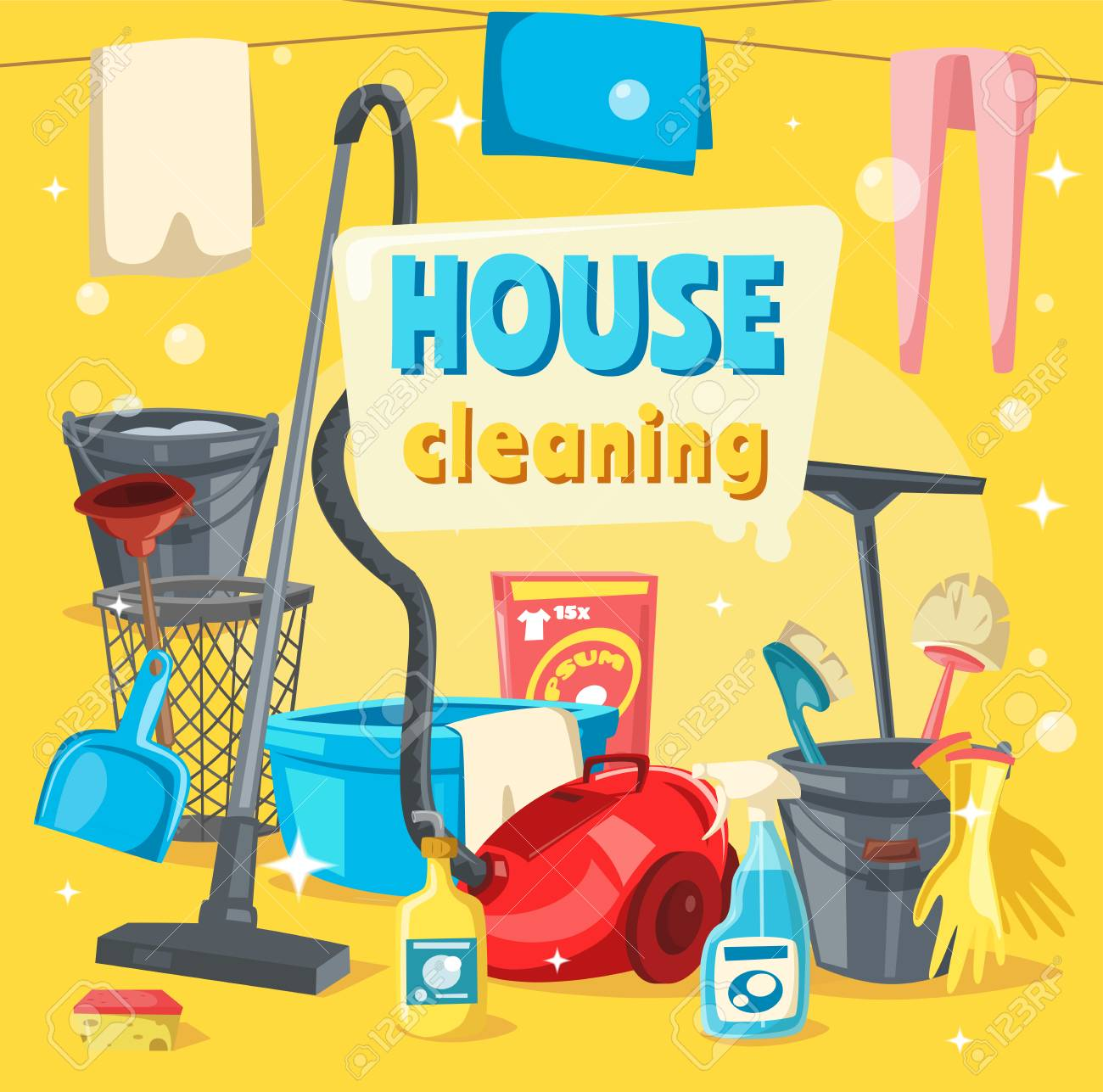 House Cleaning Services, Tools For Keeping Home Clean. Vector.. Royalty  Free Cliparts, Vectors, And Stock Illustration. Image 109761891.