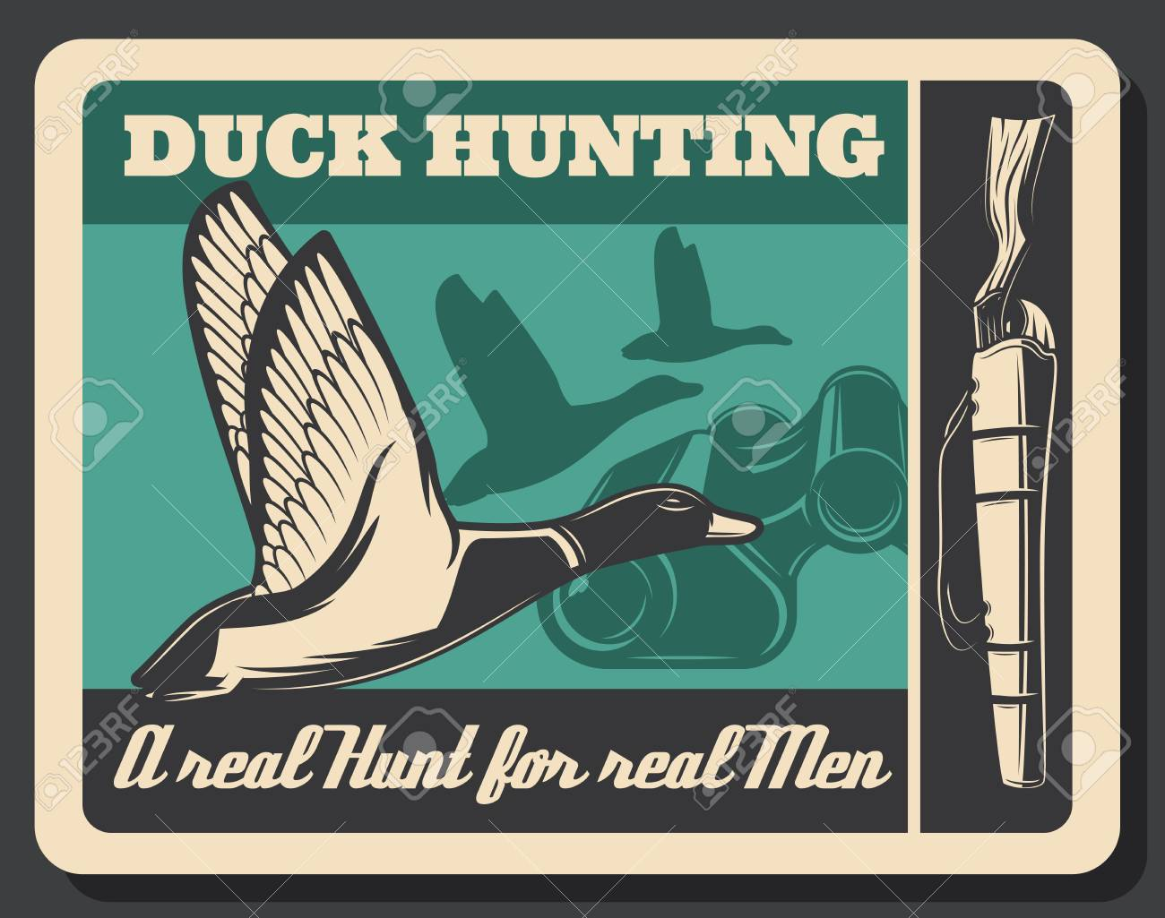 Duck hunting sport poster, flying bird and gun  Silhouette of