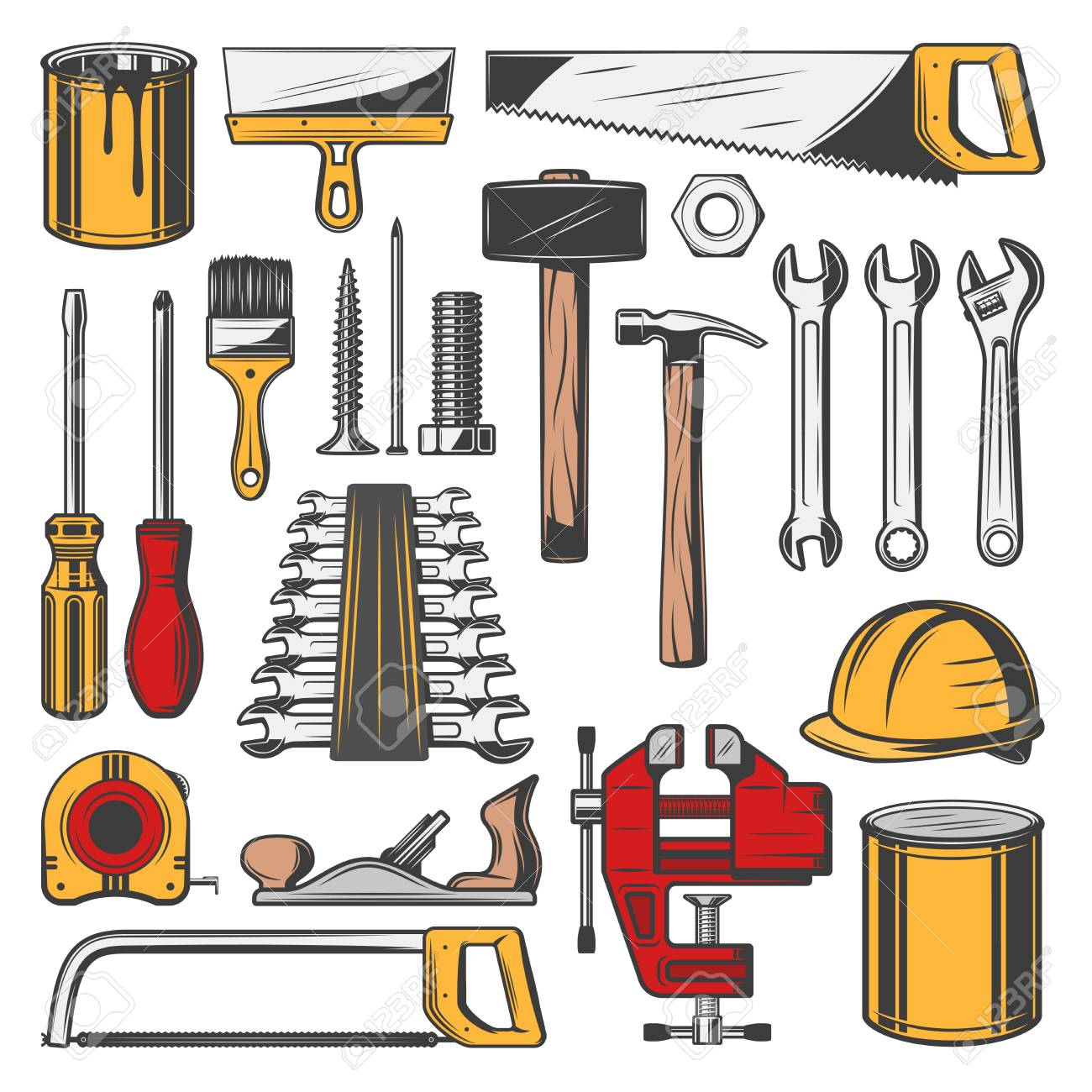 Construction Tools Set, Vector Icons. Carpentry And Building,.. Royalty Free Cliparts, Vectors, And Stock Illustration. Image 109761916.