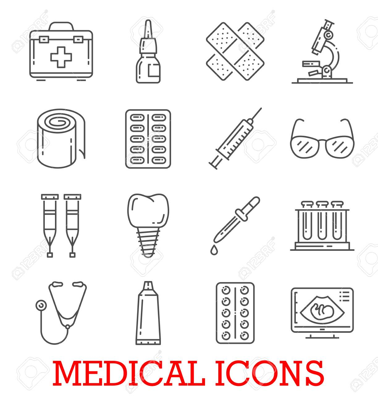 Medical thin line icons of dentistry, ophthalmology or therapy