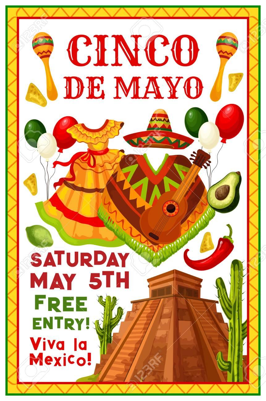 Cinco De Mayo Mexican Party Invitation Flyer For Holiday Fiesta Vector Celebration