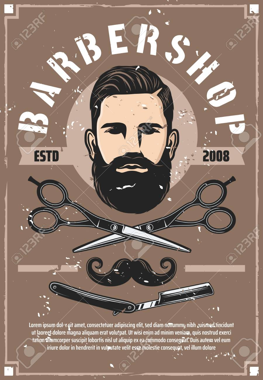 barber shop haircut salon vector retro poster. man with beard..