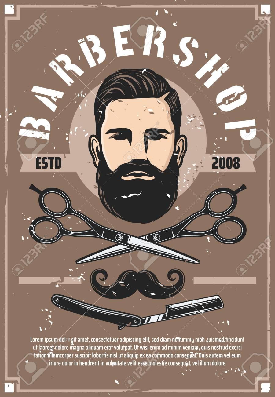 Barber Shop Haircut Salon Vector Retro Poster Man With Beard Royalty Free Cliparts Vectors And Stock Illustration Image 109734896